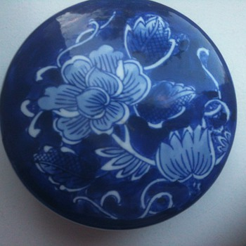 blue white circular box - Art Pottery