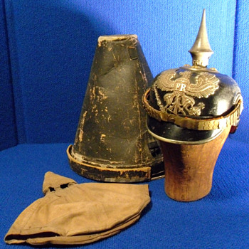 Item image	 WWI LEATHER GERMAN PICKELHAUBE SPIKED PRUSSIAN HELMET