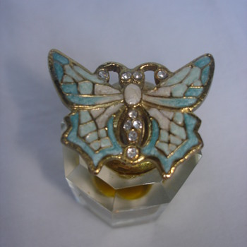 "ENAMEL,RHHINESTONES, BUTTERFLY BOTTLE STOPPER ""PERFUME BOTTLE"" - Bottles"
