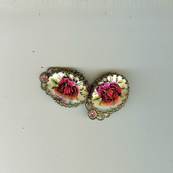 Vintage W. Germany Domed Glass Clip Earrings Roses - Costume Jewelry