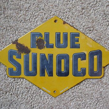 Original 1940's Sunoco Porcelain Pump Sign