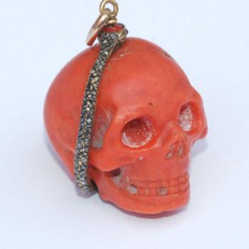 Coral Memento Mori Skull Pendant - Fine Jewelry