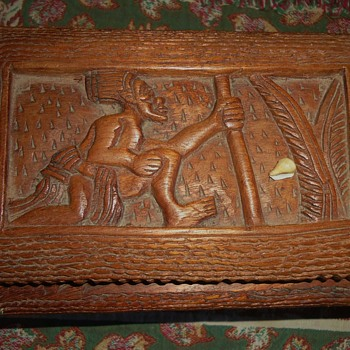 Wood Box,  FROM??? tiny shell stuck in corner, see top of 1st photo - Folk Art