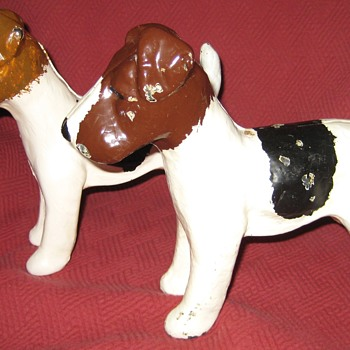 Pair Of Vintage Cast Iron Fox Terrier Doorstops - Tools and Hardware
