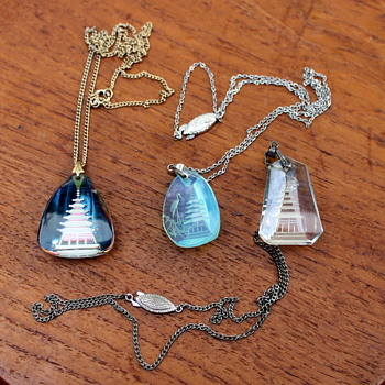 Intaglio cut glass pendants - probably Japanese