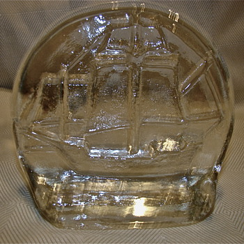 Art Glass Paperweight Ship - Art Glass