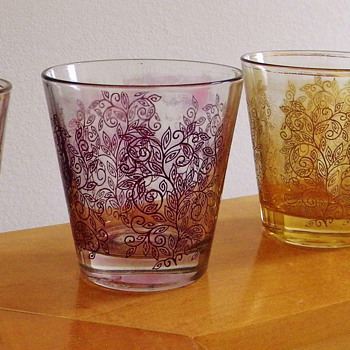 Vintage Iridescent Bohemian?  Glass Cups Italy 17?  HELP! - Art Glass