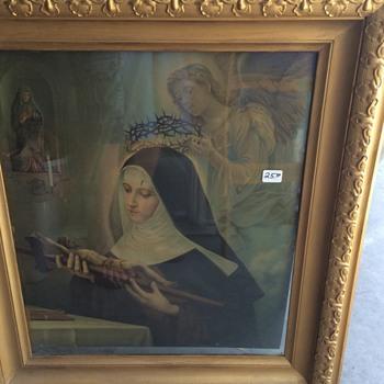 Antique Lithograph OF Saint Rita - Visual Art