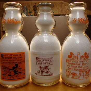Milk Bottles With Walt Disney Character Designs.....