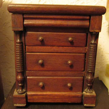 Salesman sample solid mahogany chest