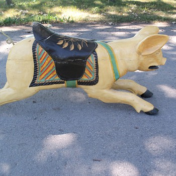 Folk Art Wooden Carved Carousel Pig
