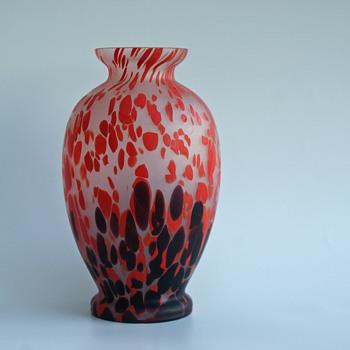 Kralik Spotted/Mottled Satin finish Vase - Art Glass