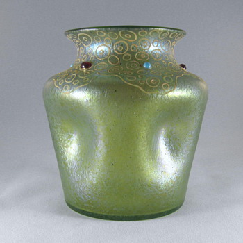 Loetz pinched Ciselé vase with enamel and cabochons.