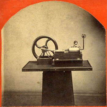 Early Stereoview of Pease Steam Engine Model - Photographs