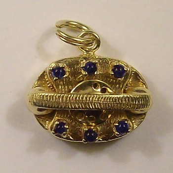 14k Old Style Jeweled Phone Pendant/Charm - Fine Jewelry
