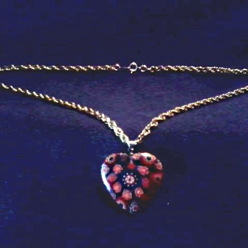 Murano (?) Millefiore Glass Heart Pendant /18K GP White Gold Bale 12 K Chain/ Circa 20th Century