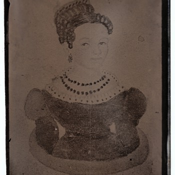 Photograph of a Painting!  19th Century Folk Art Portrait of a Young Woman on a Tintype
