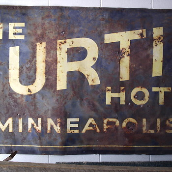 Old 7'X4' Tin Curtis Hotel Minneapolis Tin Billboard Sign - Barn Find