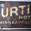 Old 7'X4' Tin Curtis Hotel Minneapolis Tin Billboard Sign - Barn Find