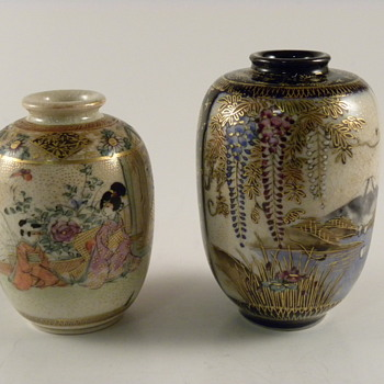 Satsuma Hand painted Vases miniature - Asian