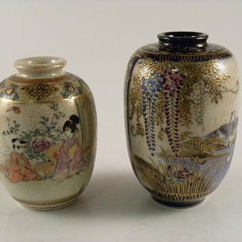Satsuma Hand painted Vases miniature