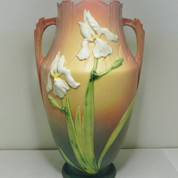 "Huge 15"" Roseville Pink Iris Pillow Vase - 1930's - Art Pottery"