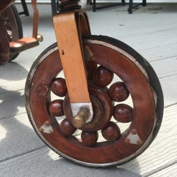 Antique wooden horse pedal cart - wheels