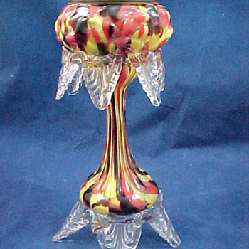 ca 1895 Bohemian Export red yellow and black spatter glass fairy lamp or vase and Hosch Wholesale Catalog - Art Glass