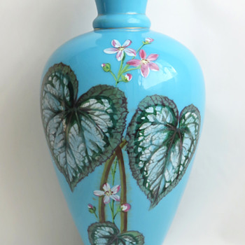 Harrach Blue Enameled Begonia Vase and Catalog Example c. 1887