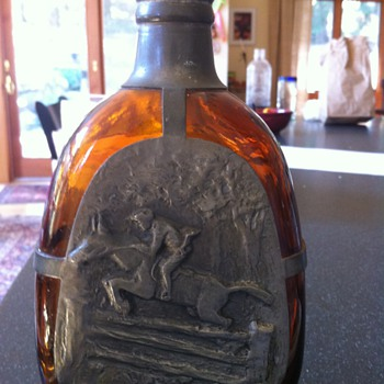 Bitter Back Bar Bottle with Horse and Jockey in gun metal