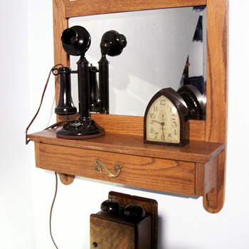 Antique Oak mirror & shelf with a  drawer - Telephones