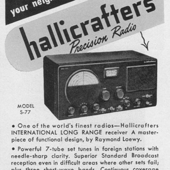 1951 - Hallicrafters Model S-77 Radio Advertisement