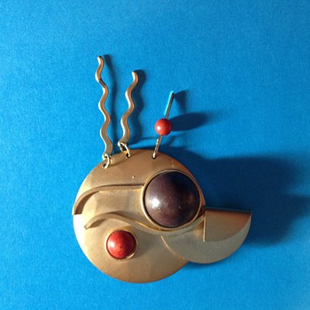 Modernist Abstract brass brooch with dangles