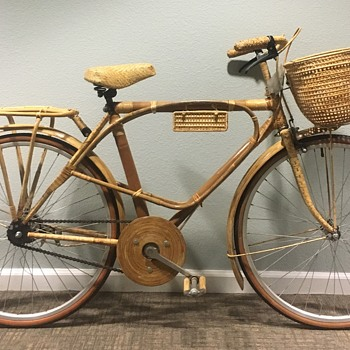Bambooclette Bamboo and Rattan Wrapped Bicycle Cruiser 1960s - Sporting Goods