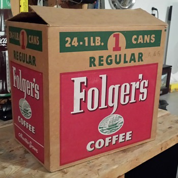 Attic find~ Folgers cardboard box - Advertising