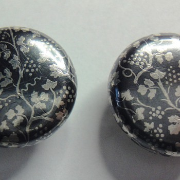 Antique niello or enameled studs/cufflink - Fine Jewelry