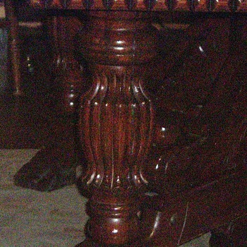 oak table carved five leg  dinning table