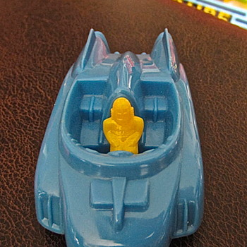 1950s hard plastic Pyro Rocket Car in blue - Toys
