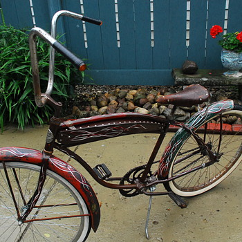 "1947 Rollfast bike with custom tank and paint  ""Roll-Fast or be Last"" - Sporting Goods"