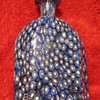 Blue and White Millefiori bottle with clear stopper 