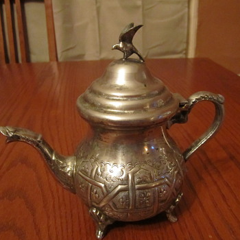Sterling ?? Silverplate Teapot Serpent Spout, Winged Bird Topper