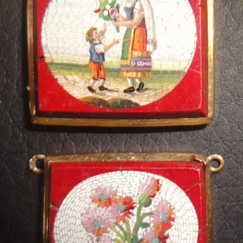 Two about 1830's Micro Mosaic gold mounted plaques. - Fine Jewelry