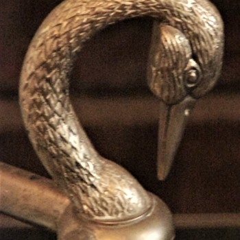 Antique Art Nouveau Brass Walking Stick/ Cane Holder With Swan (?) Heads And Feet At Base