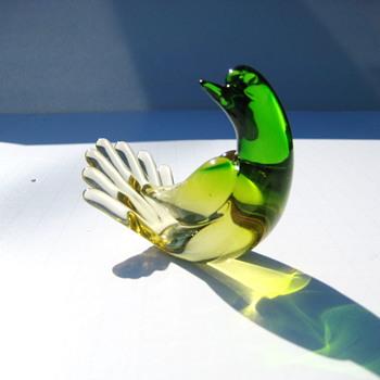 Yellow/green glass bird