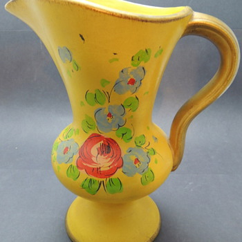 Yellow &amp; Florar Water Pitcher - Art Pottery