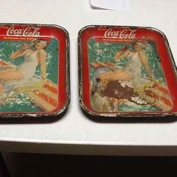 "1939 ""GIRL ON DIVING BOARD"" 2 trays lot - Coca-Cola"