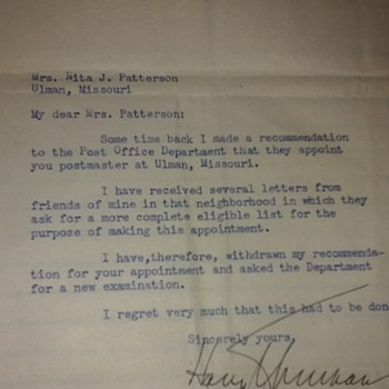 letter signed by Harry S Truman