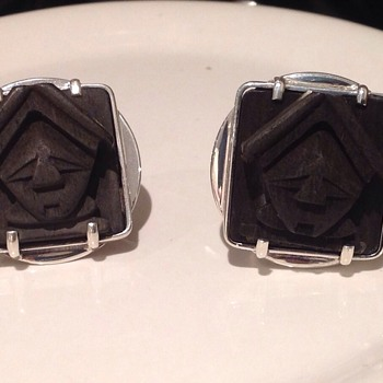 Sterling silver and Wood Cufflinks