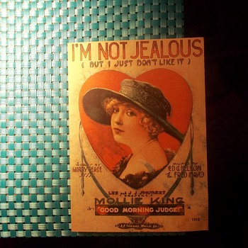 "Vintage sheet Music ""I'M NOT JEALOUS,I JUST DON'T LIKE IT""1919 HE FLIRTS WITH GUYS~!"