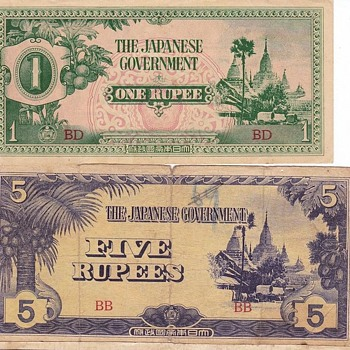 Japanese Rupee Notes Burma WWII